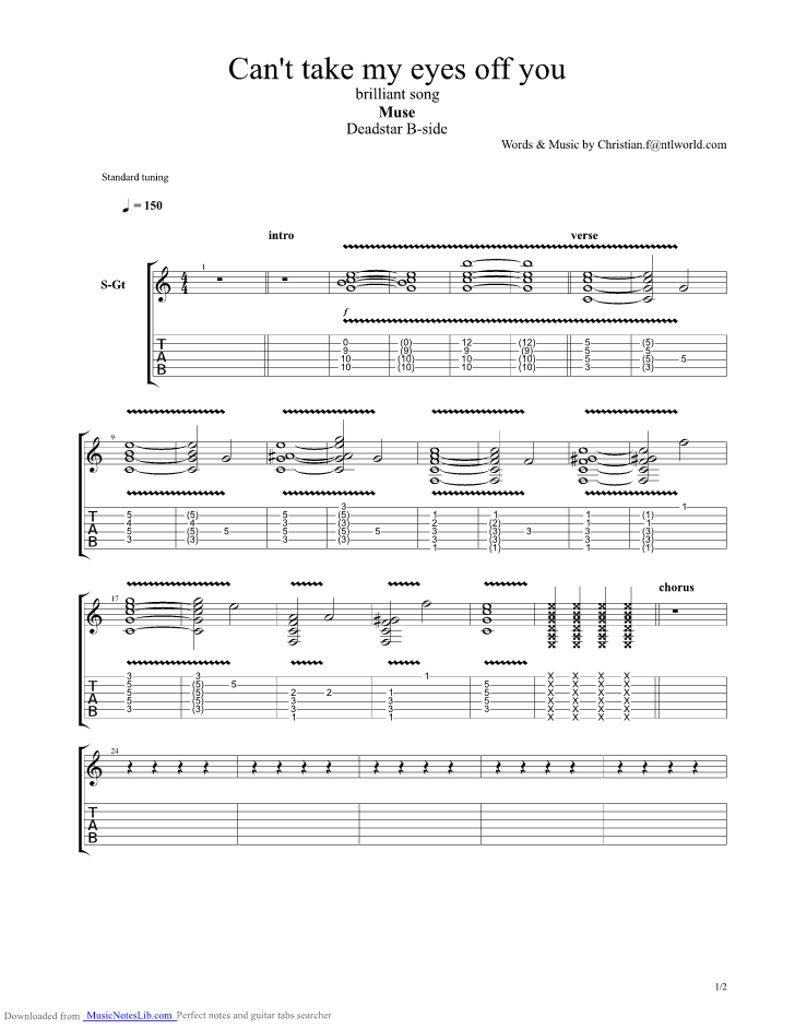 Can t take my eyes off you guitar pro tab by Muse @ musicnoteslib.com