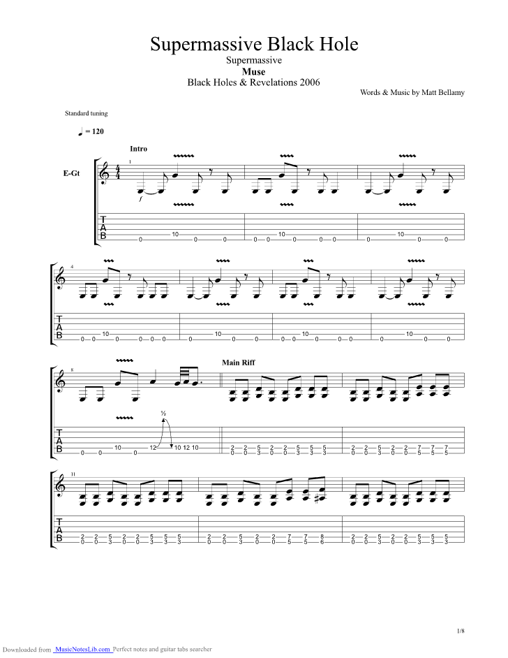 Supermassive Black Hole guitar pro tab by Muse ...