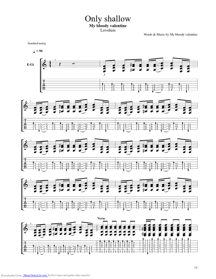 Only Shallow Guitar Pro Tab By My Bloody Valentine Musicnoteslib Com