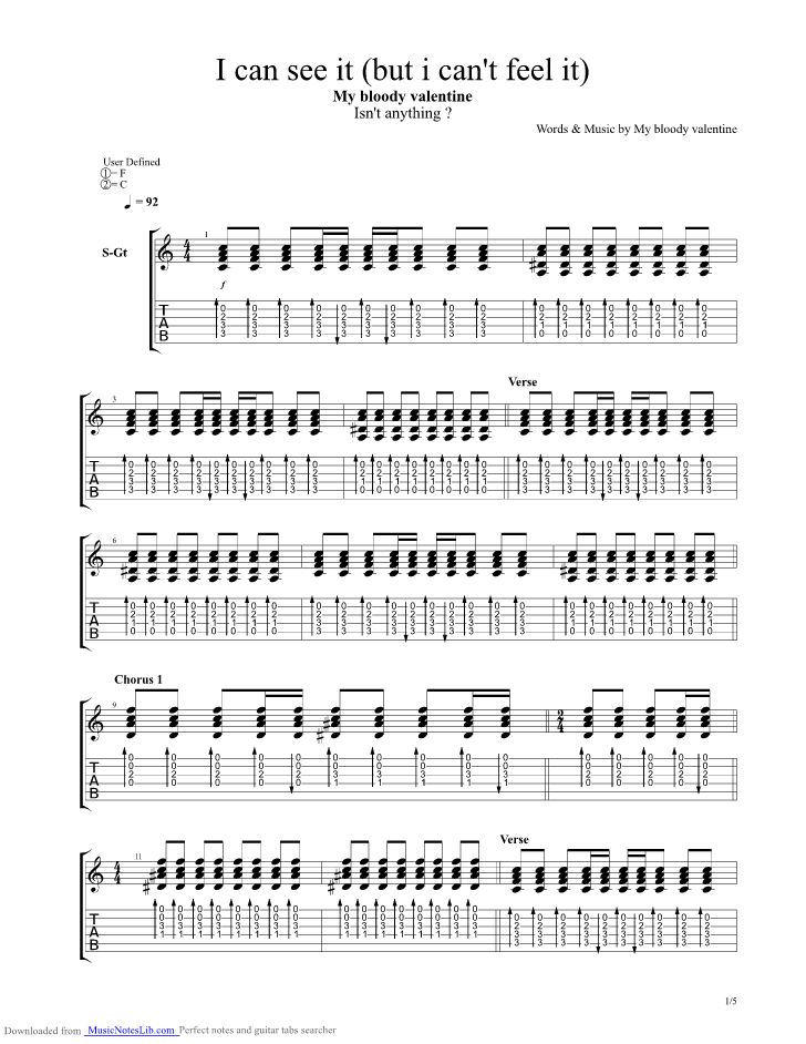 I Can See It But I Cant Feel It Guitar Pro Tab By My Bloody Valentine Musicnoteslib Com