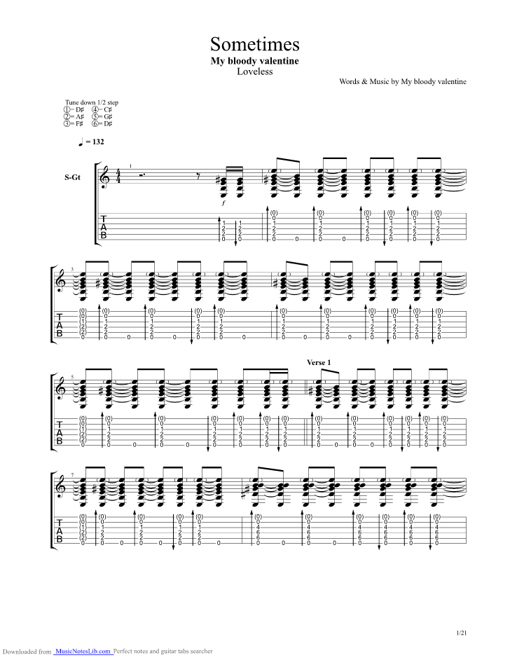 When You Sleep Guitar Pro Tab By My Bloody Valentine Musicnoteslib Com