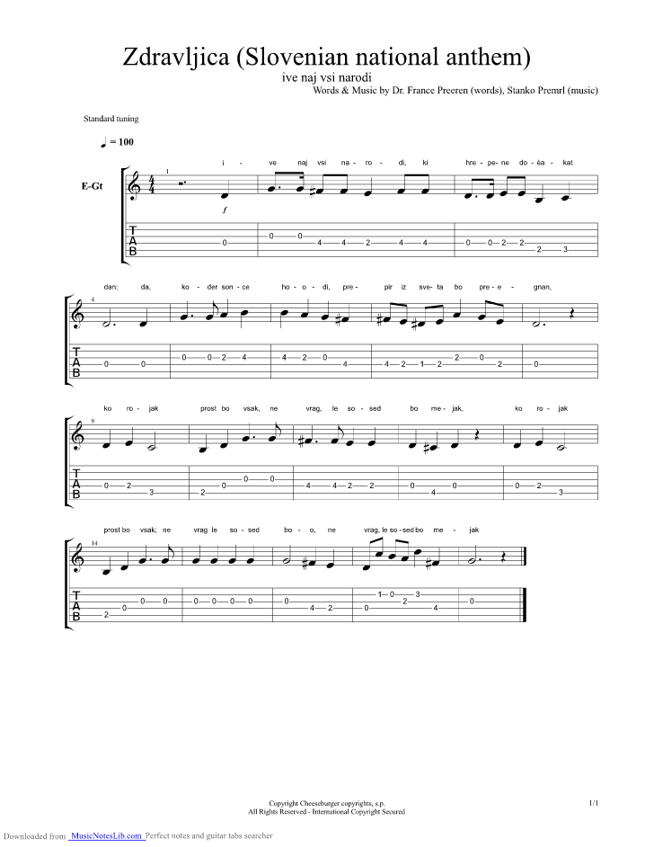 Zdravljica Slovenian National Anthem guitar pro tab by National ...