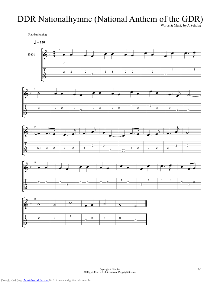 DDR National Anthem East-Germany guitar pro tab by National Anthems ...