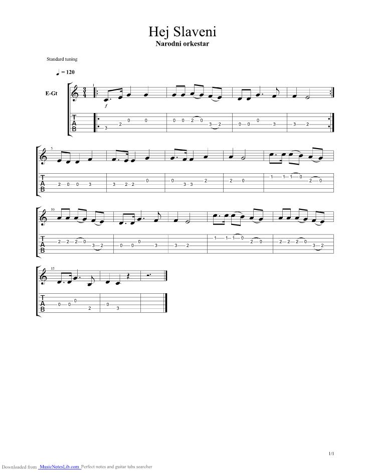 Hej Slaveni guitar pro tab by National Anthems @ musicnoteslib.com