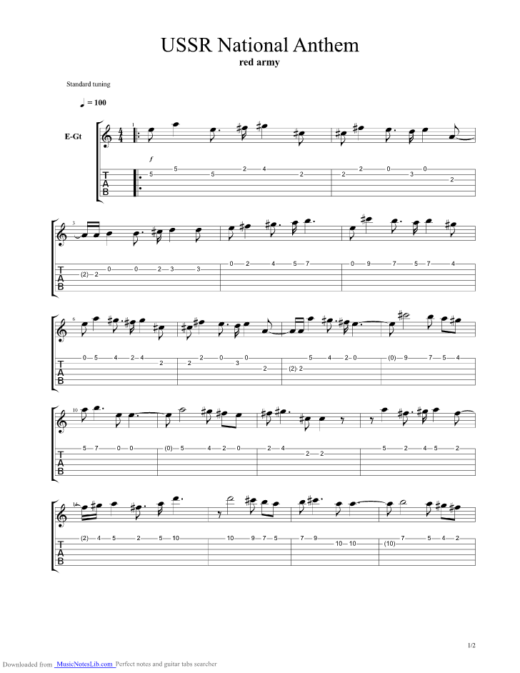 USSR National Anthem Heavy Metal Version guitar pro tab by National ...