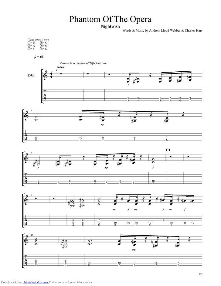 Phantom Of The Opera guitar pro tab by Nightwish @ musicnoteslib com