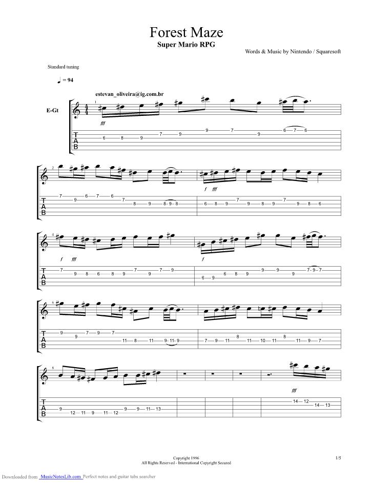 Forest Maze guitar pro tab by Nintendo @ musicnoteslib.com
