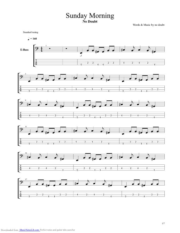 Sunday Morning Guitar Pro Tab By No Doubt Musicnoteslib
