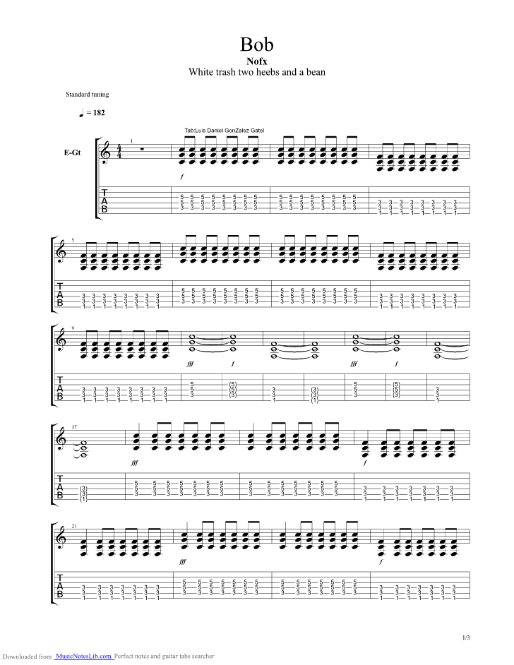 Nofx Electricity Guitar Tab