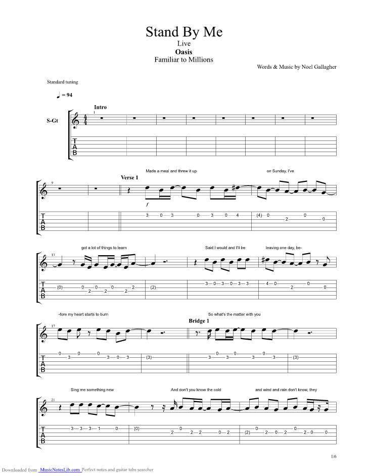 stand by me live guitar pro tab by oasis. Black Bedroom Furniture Sets. Home Design Ideas