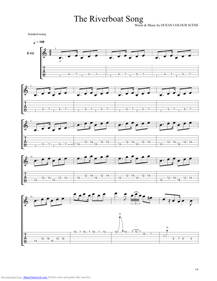The Riverboat Song Guitar Pro Tab By Ocean Colour Scene
