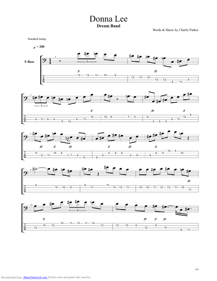 Donna Lee Dream Band Guitar Pro Tab By Jaco Pastorius