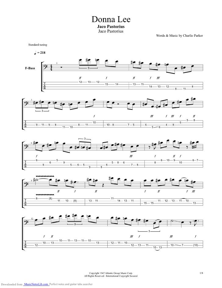 DONNA LEE TAB by Charlie Parker Ultimate-GuitarCom