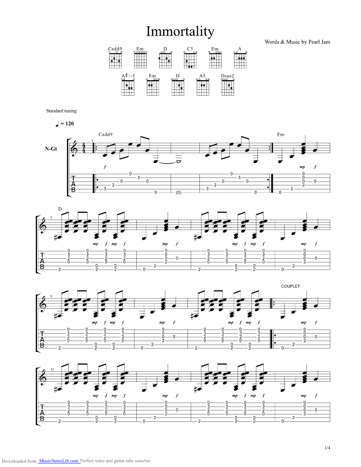 Immortality Guitar Pro Tab By Pearl Jam Musicnoteslib