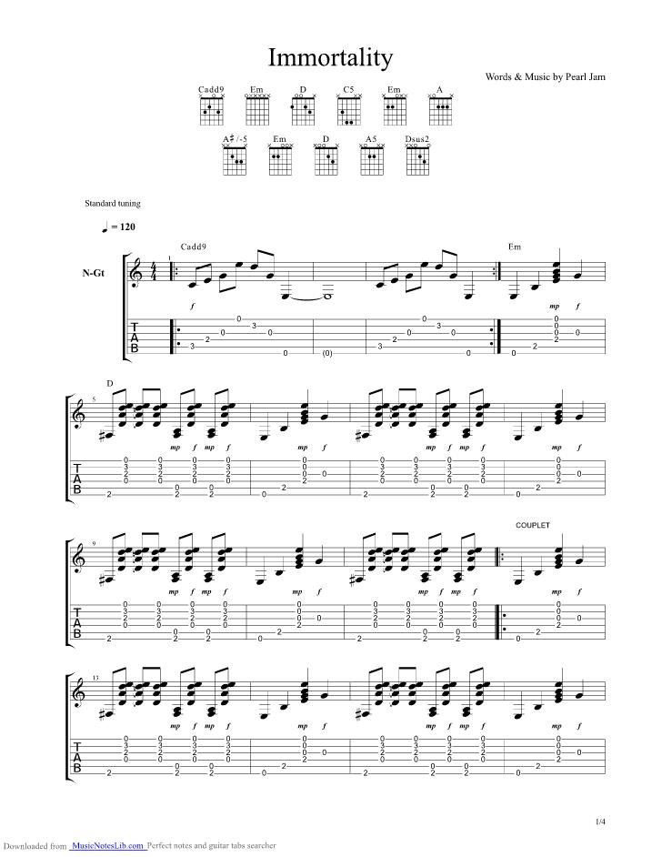 Immortality guitar pro tab by Pearl Jam @ musicnoteslib.com