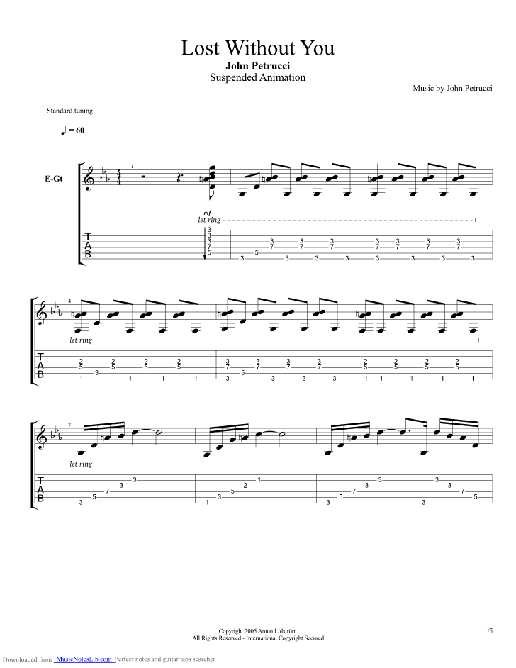 Lost Without You Guitar Pro Tab By John Petrucci Musicnoteslib