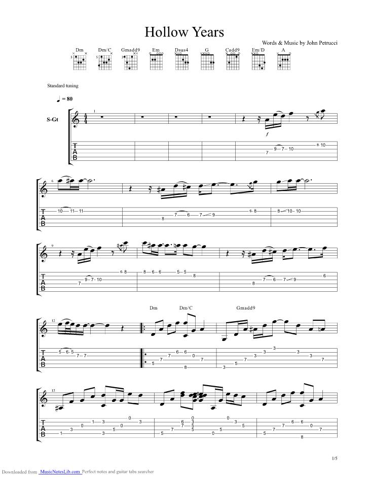 Hollow Years Guitar Pro Tab By John Petrucci Musicnoteslib