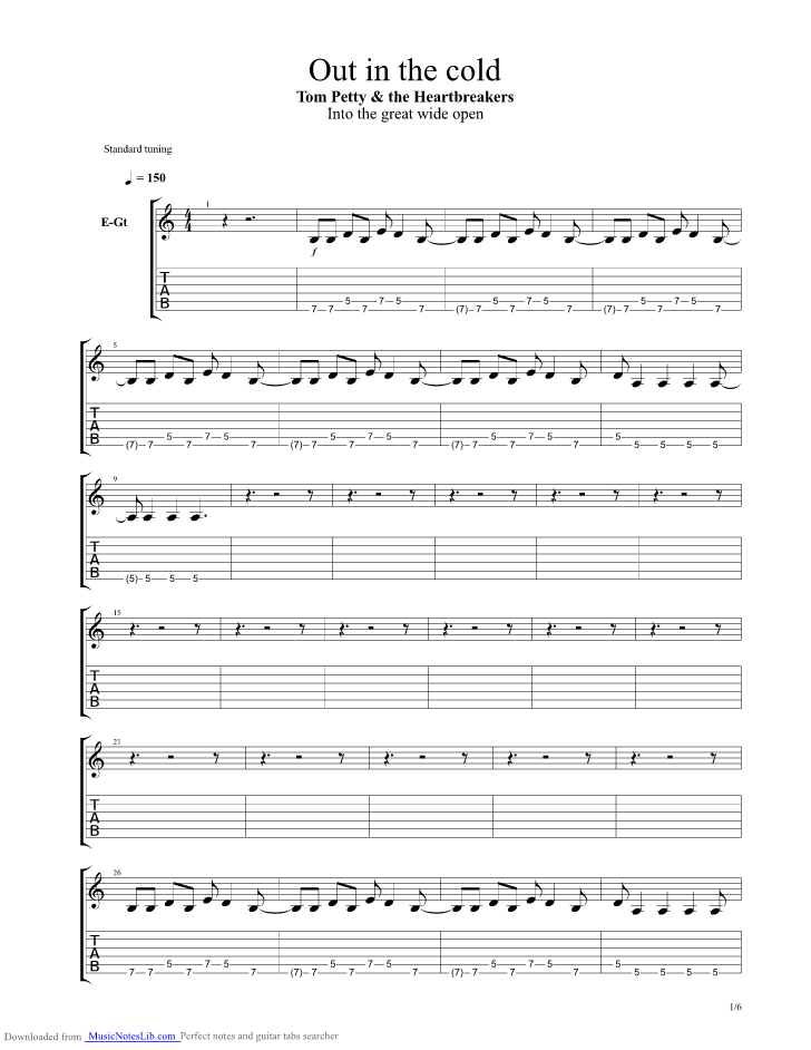Out In The Cold guitar pro tab by Tom Petty @ musicnoteslib.com