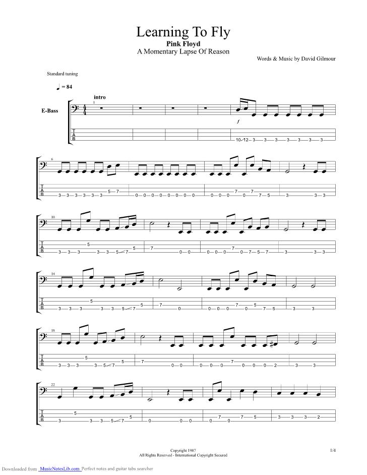 Learning To Fly Tab by Pink Floyd - Rhythm Guitar ...