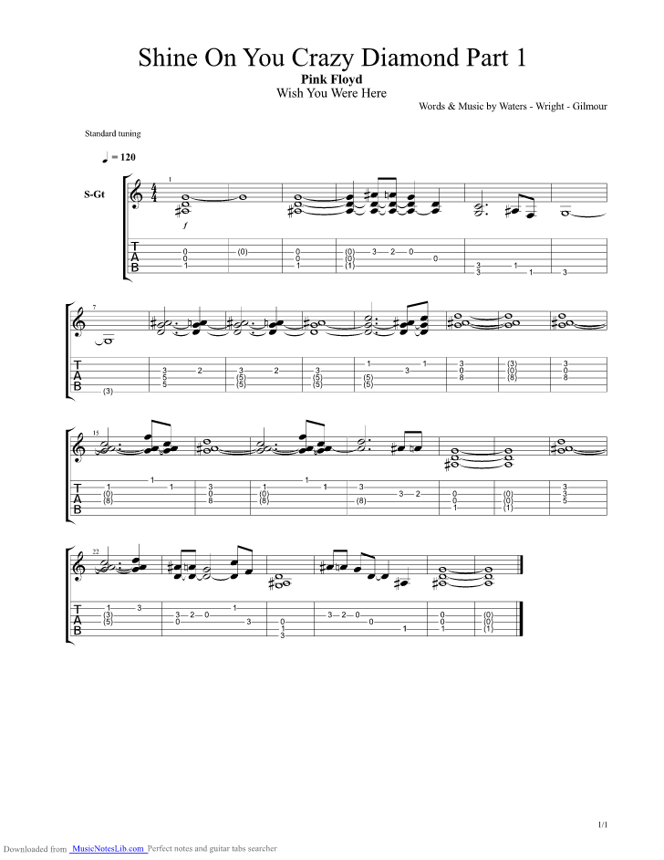 shine on you crazy diamond part 2 guitar pro tab by pink floyd. Black Bedroom Furniture Sets. Home Design Ideas