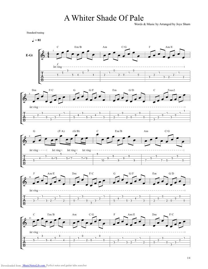 A Whiter Shade Of Pale Guitar Pro Tab By Procul Harum