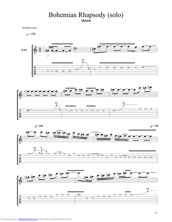 bohemian rhapsody guitar solo sheet music - Mersn.proforum.co