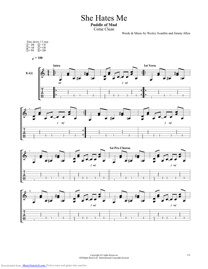 She Hates Me guitar pro tab by Puddle Of Mudd