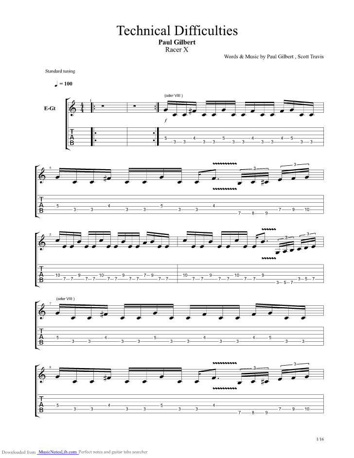 Racer X Technical Guitar Tab Songbook Pdf