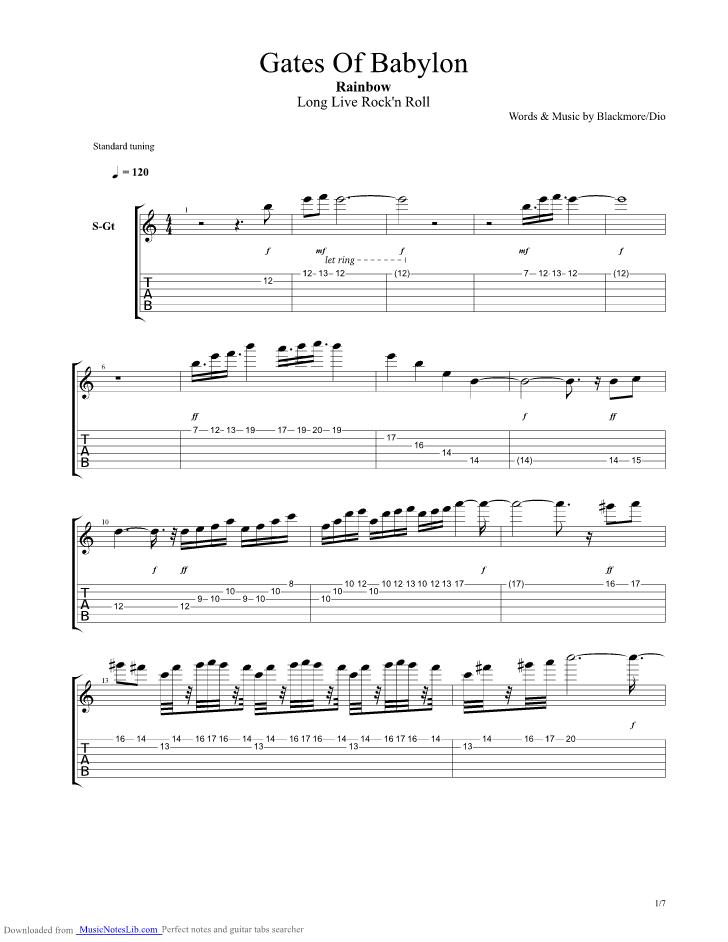 Gates Of Babylon guitar pro tab by Rainbow @ musicnoteslib.com