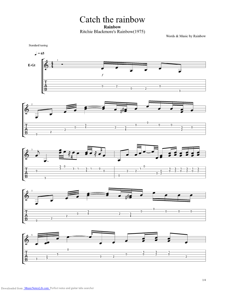 Catch the rainbow guitar pro tab by Rainbow ...