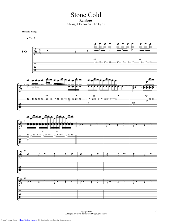 Stone Cold guitar pro tab by Rainbow @ musicnoteslib.com