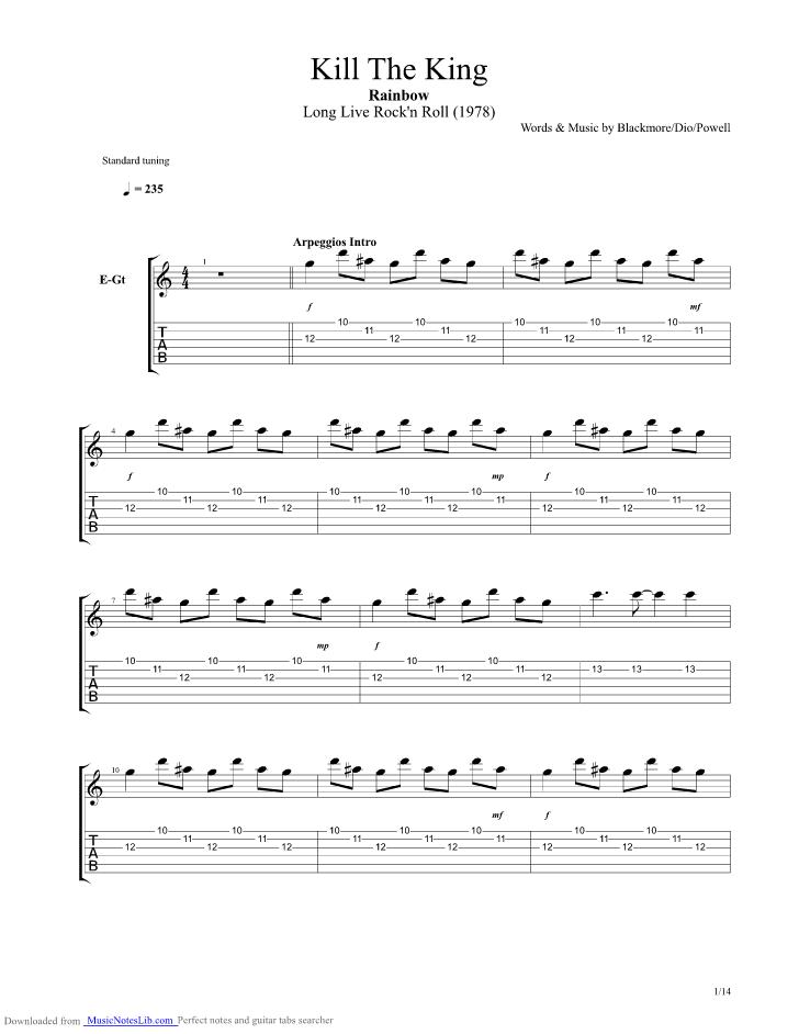 Kill The King guitar pro tab by Rainbow @ musicnoteslib.com