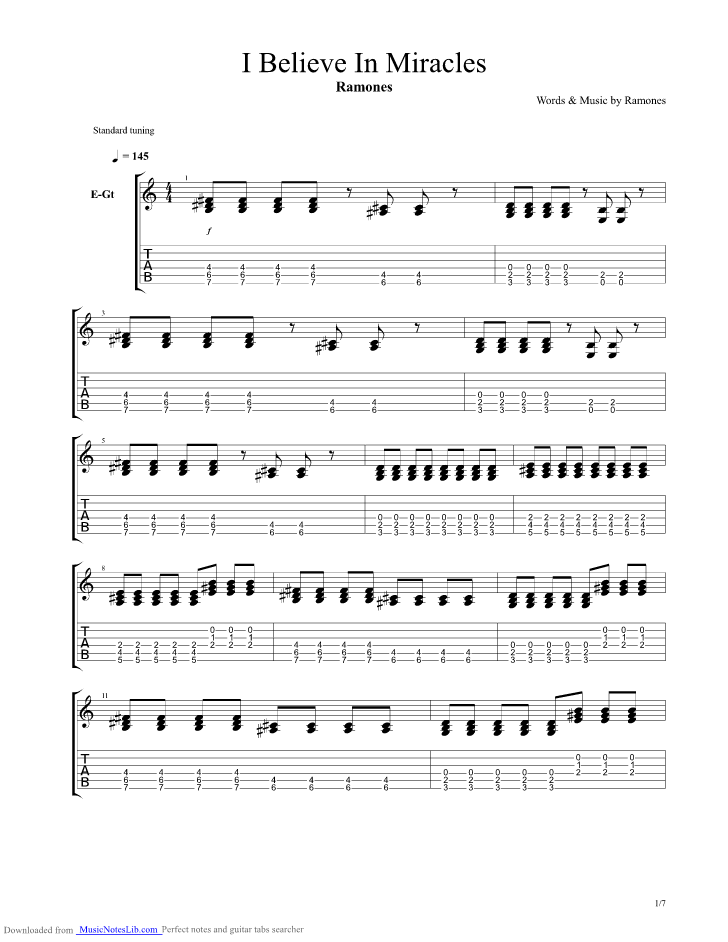 I Believe In Miracles guitar pro tab by Ramones @ musicnoteslib.com