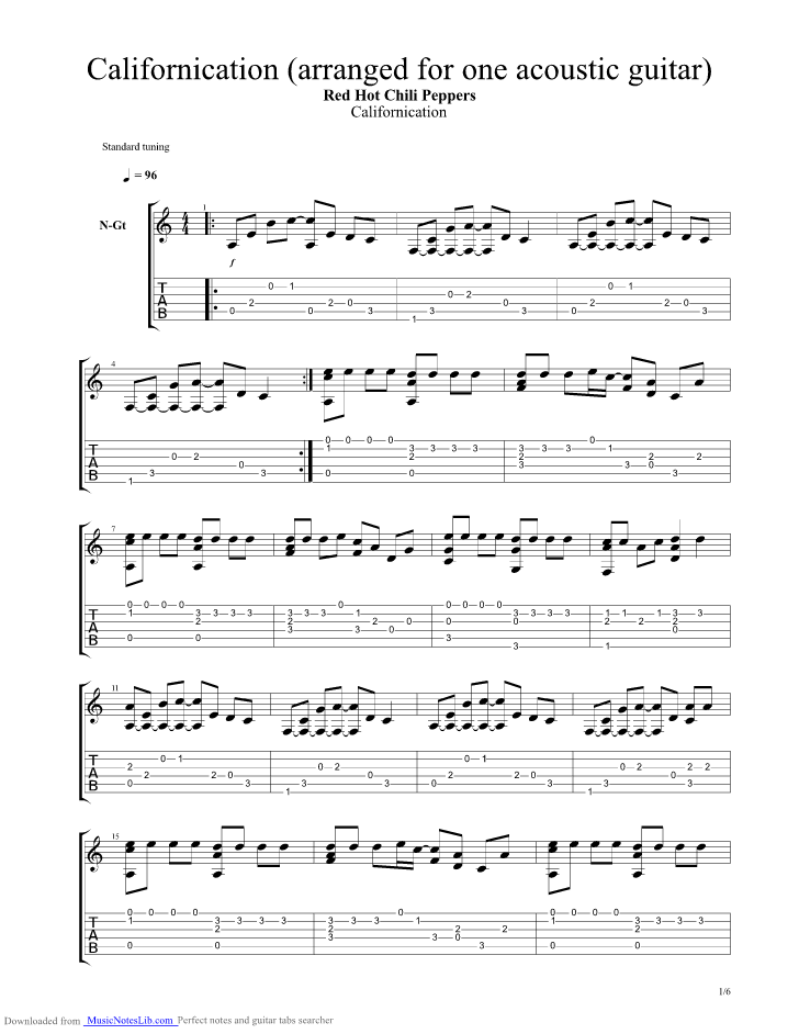 Californacation Guitar Lesson