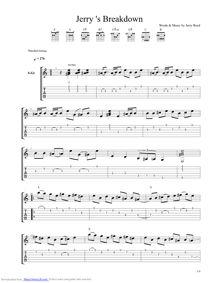 Jerry S Breakdown Guitar Pro Tab By Jerry Reed Musicnoteslib