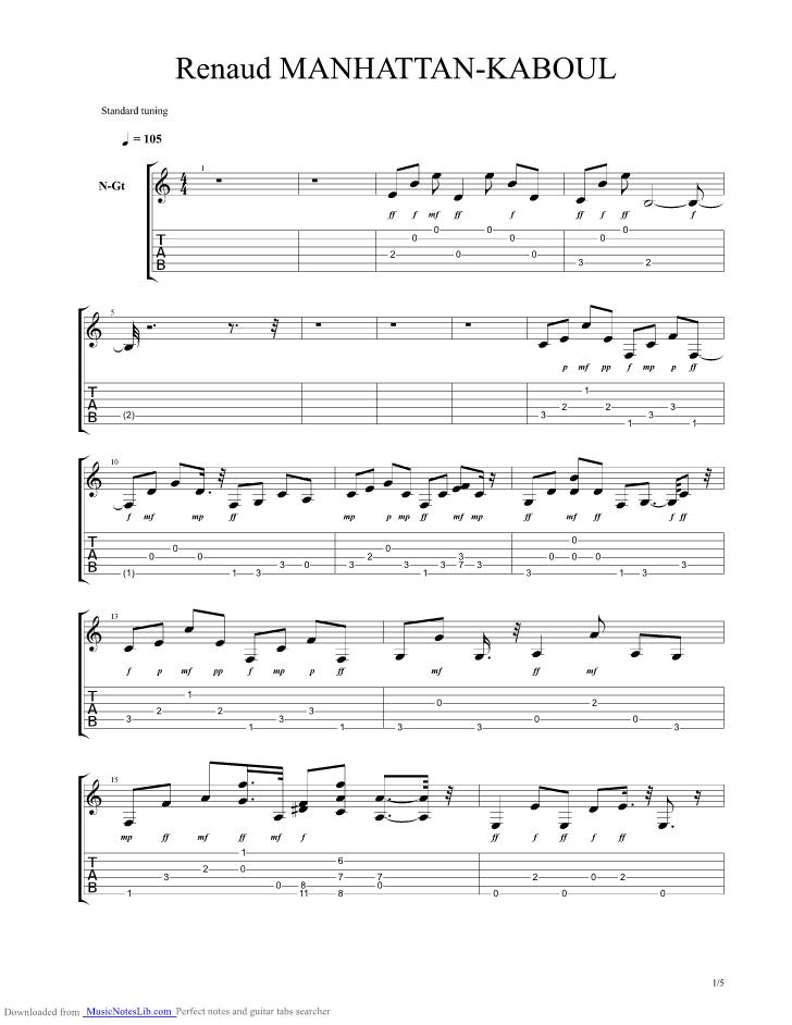 partition guitare manhattan kaboul