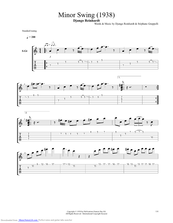 Minor Swing guitar pro tab by Django Reinhardt @ musicnoteslib.com