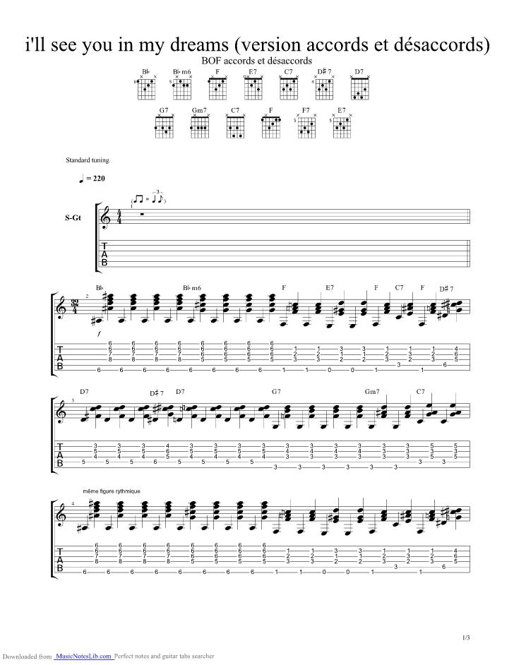 I ll See You in My Dreams guitar pro tab by Django Reinhardt ...
