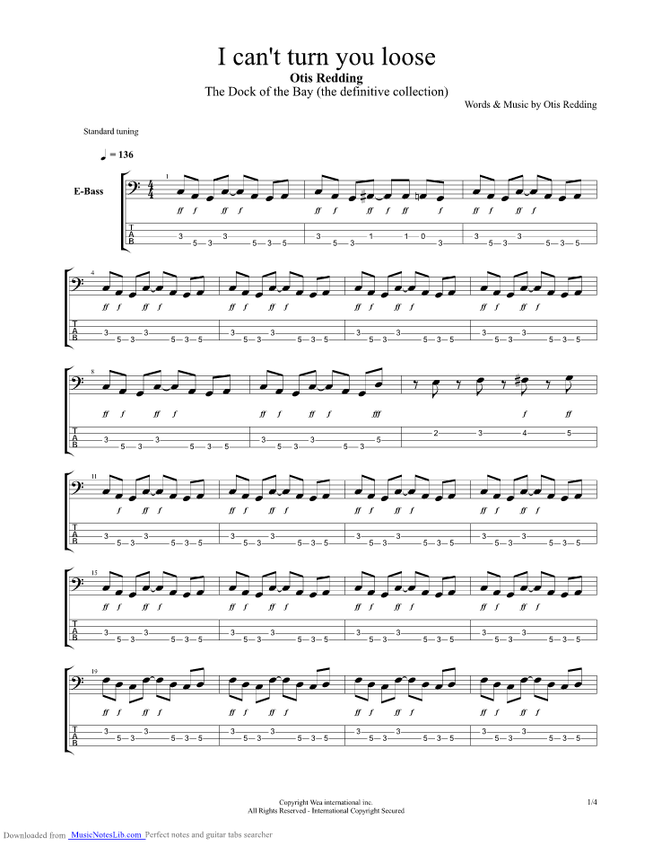 I Can T Turn You Loose Guitar Pro Tab By Otis Redding