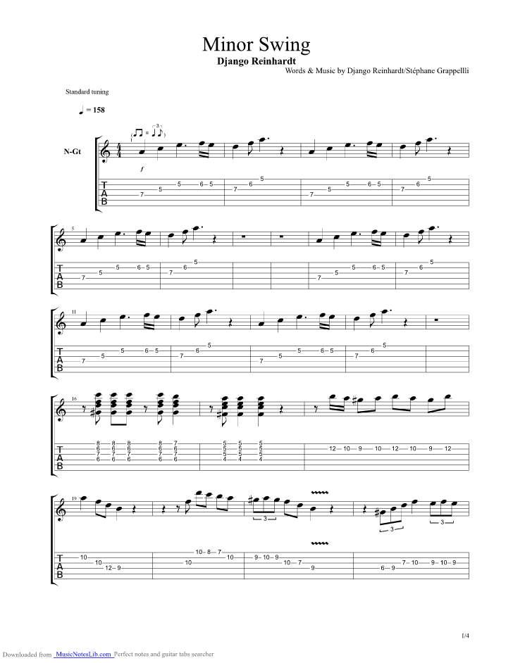 Minor Swing Guitar Pro Tab By Django Reinhardt Musicnoteslib