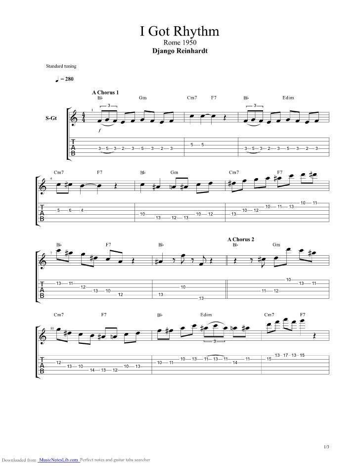 I Got Rhythm guitar pro tab by Django Reinhardt @ musicnoteslib.com