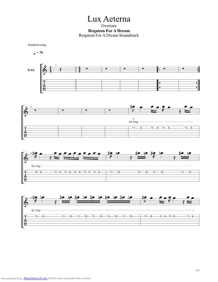 Lux Aeterna Requiem Of A Dream Main Title guitar pro tab by Clint ...