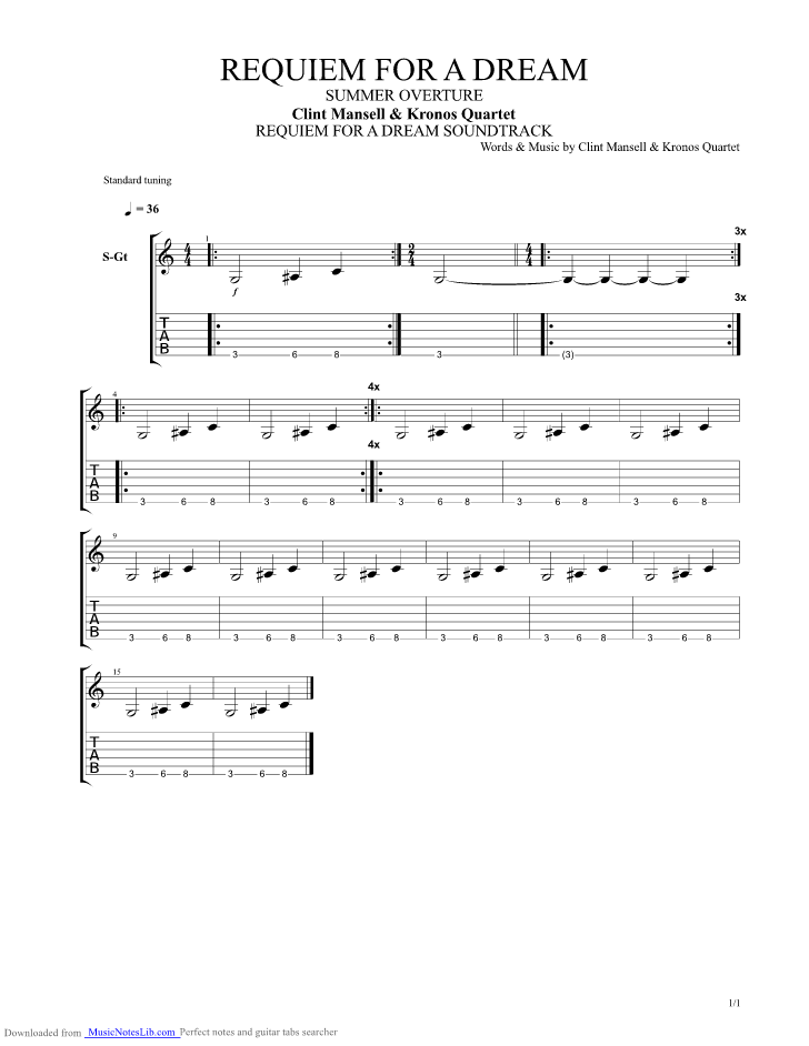 Summer Overture guitar pro tab by Clint Mansell @ musicnoteslib.com