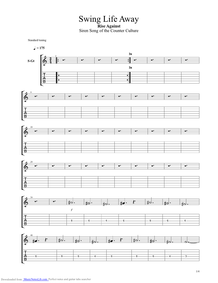 Swing Life Away Guitar Pro Tab By Rise Against