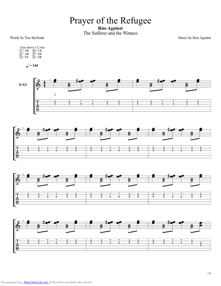Prayer Of The Refugee guitar pro tab by Rise Against @ musicnoteslib.com