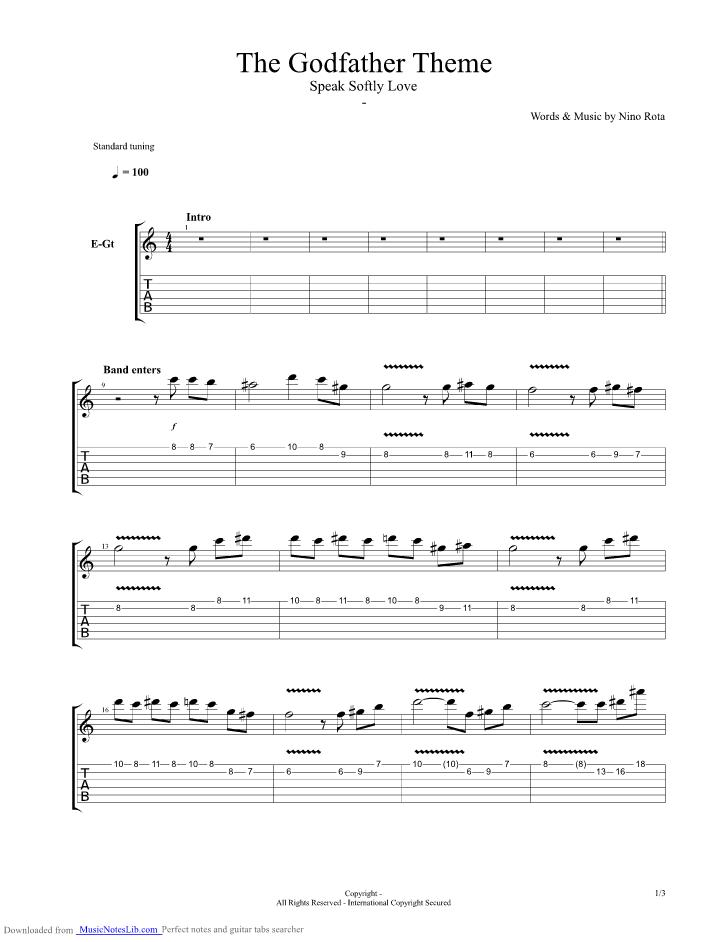 The Godfather Theme Guitar Pro Tab By Nino Rota Musicnoteslib