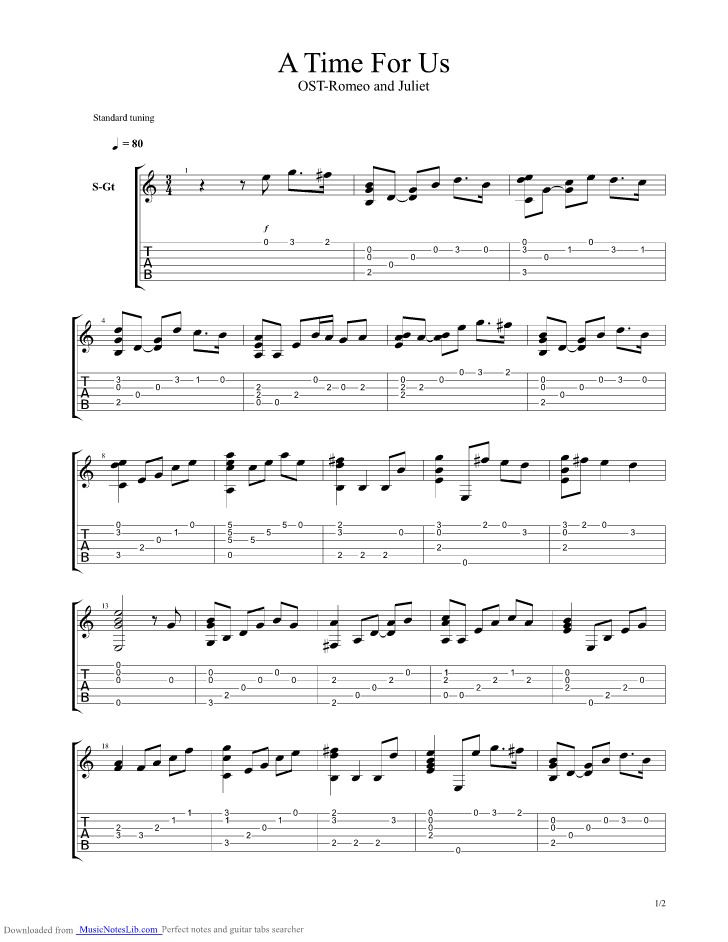 A Time For Us Theme From Romeo And Juliet Guitar Pro Tab By Nino