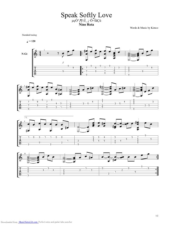 Speak Softly Love guitar pro tab by Nino Rota @ musicnoteslib.com