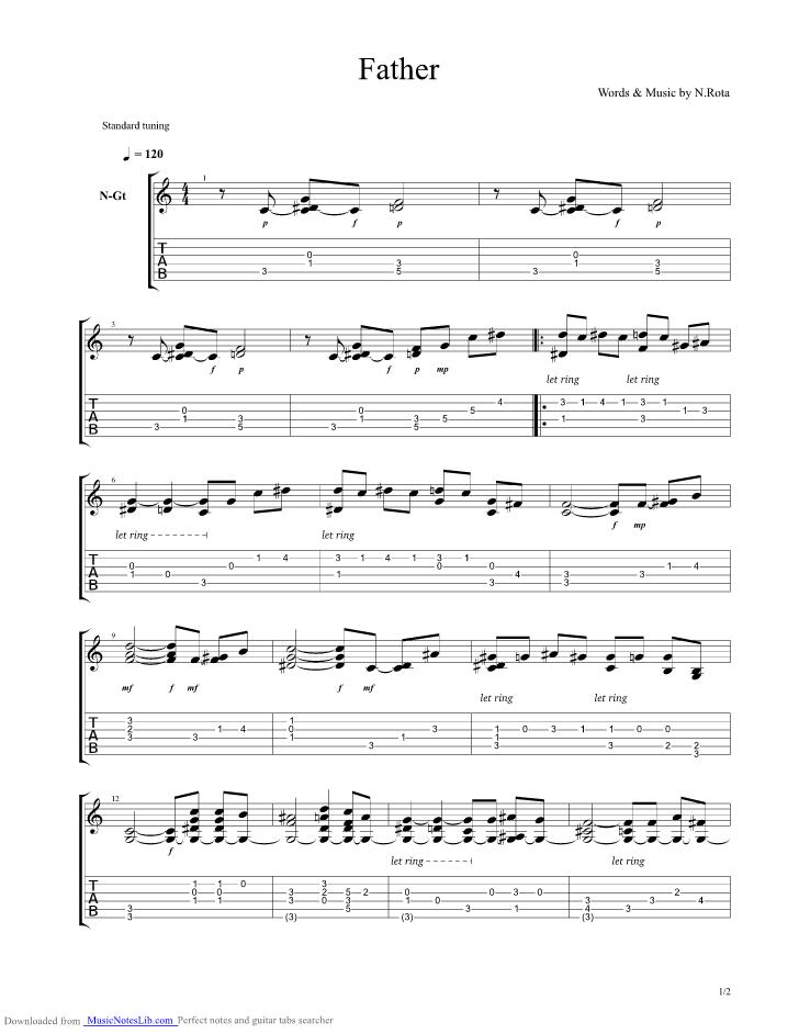 Godfather Guitar Pro Tab By Nino Rota Musicnoteslib