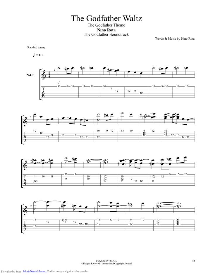 The Godfather Waltz Guitar Pro Tab By Nino Rota Musicnoteslib